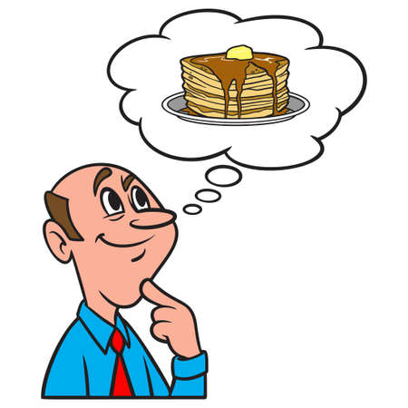Thinking about Pancakes - A cartoon illustration of a man thinking about a plate of Pancakes. Иллюстрация