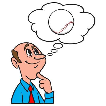 Thinking about Baseball - A cartoon illustration of a man thinking about a Baseball.