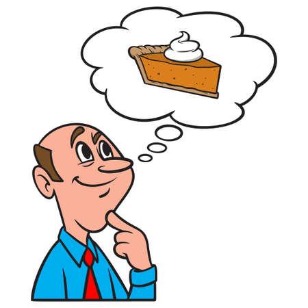 Thinking about Pumpkin Pie - A cartoon illustration of a man thinking about a slice of Pumpkin Pie.