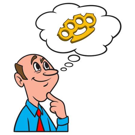 Thinking about Brass Knuckles - A cartoon illustration of a man thinking about a pair of Brass Knuckles. Иллюстрация