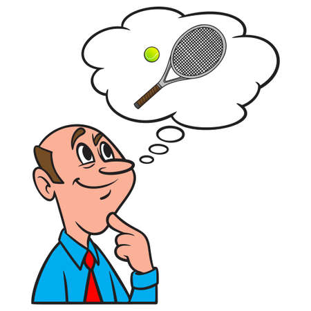 Thinking about a Tennis Ball and Racket - A cartoon illustration of a man thinking about a Tennis Ball and Racket. Иллюстрация