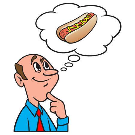 Thinking about a Hot Dog - A cartoon illustration of a man thinking about a Hot Dog for lunch.