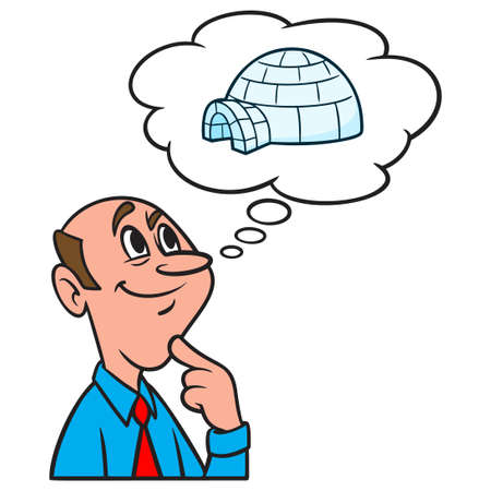 Thinking about an Igloo - A cartoon illustration of a man thinking about living in an Igloo. Иллюстрация