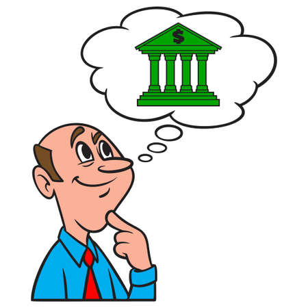 Thinking about a Bank - A cartoon illustration of a man thinking about a new Bank. Иллюстрация