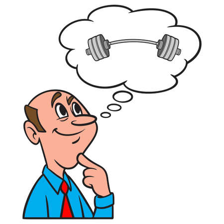 Thinking about Weight Training - A cartoon illustration of a man thinking about Weight Training.