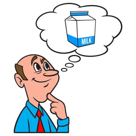 Thinking about a Milk Carton - A cartoon illustration of a man thinking about a carton of Milk for Breakfast.