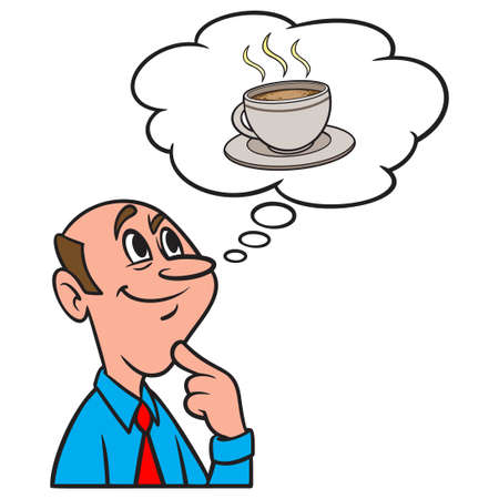 Thinking about a Cup of Coffee - A cartoon illustration of a man thinking about a cup of Coffee. Иллюстрация