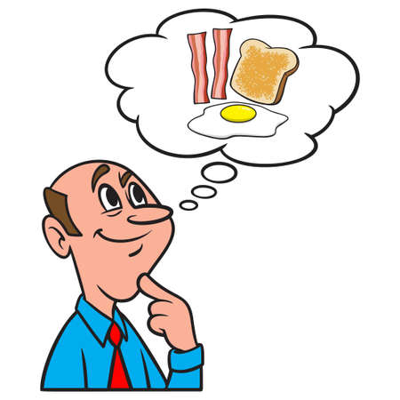 Thinking about Breakfast - A cartoon illustration of a man thinking about having bacon eggs and toast for Breakfast. Иллюстрация