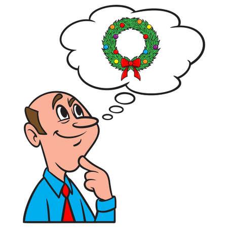 Thinking about a Christmas Wreath - A cartoon illustration of a man thinking about a Christmas Wreath. Иллюстрация