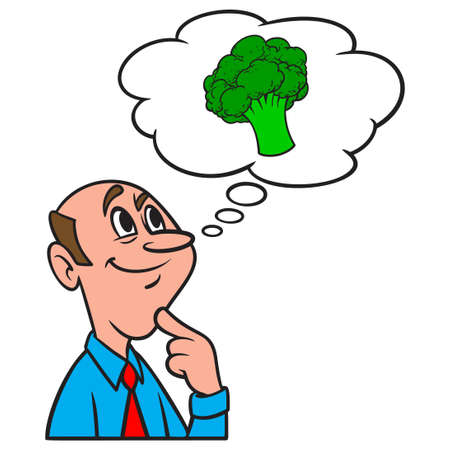 Thinking about Broccoli - A cartoon illustration of a man thinking about the benefits of eating Broccoli.