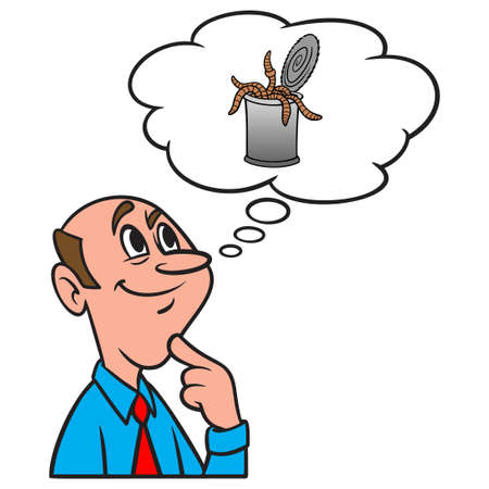 Thinking about a Can of Worms - A cartoon illustration of a man thinking about opening up a Can of Worms.