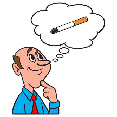 Thinking about a Cigarette - A cartoon illustration of a man thinking about smoking a Cigarette. Иллюстрация