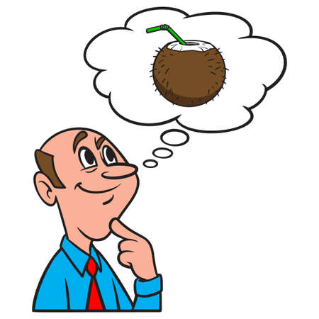 Thinking about Coconut Drink - A cartoon illustration of a man thinking about a Coconut Drink.