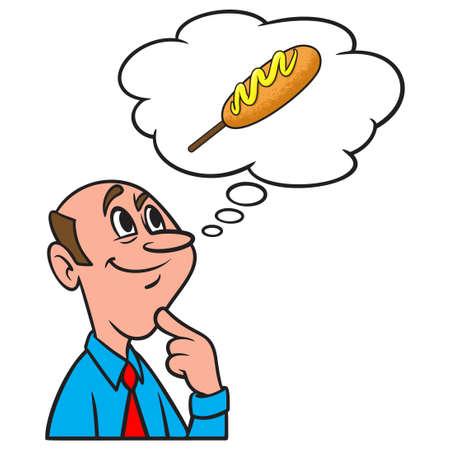 Thinking about a Corn Dog - A cartoon illustration of a man thinking about eating a Corn Dog.