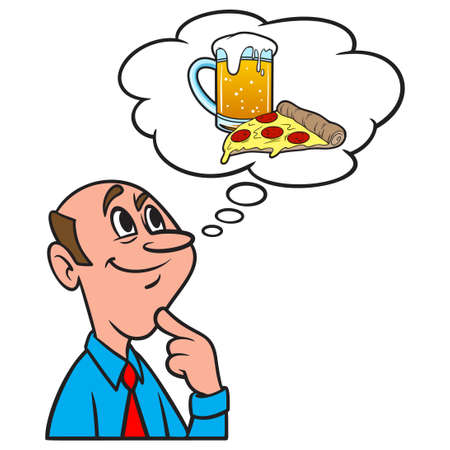 Thinking about Pizza and Beer - A cartoon illustration of a man thinking about a slice of Pizza and a mug of Beer.