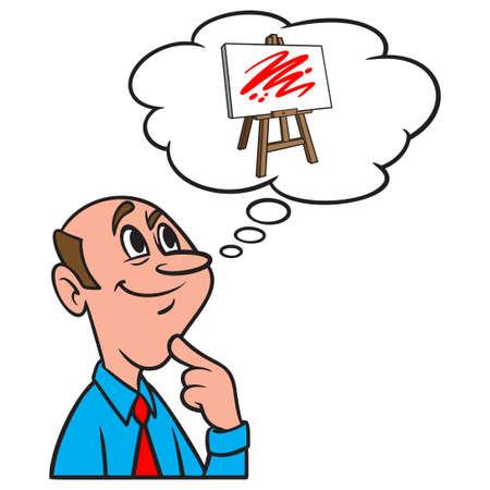 Thinking about an Art Easel - A cartoon illustration of a man thinking about an Art Easel.