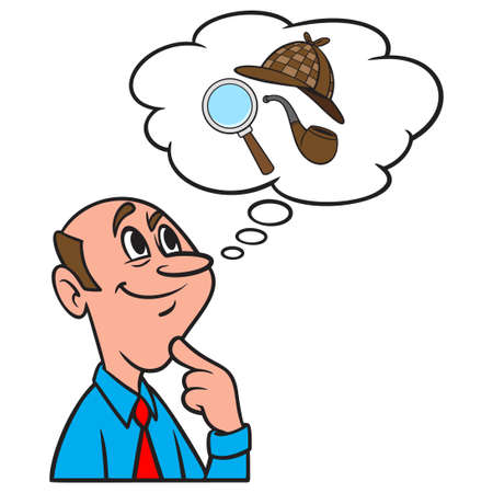 Thinking about Detective Work - A cartoon illustration of a man thinking about Detective Work.