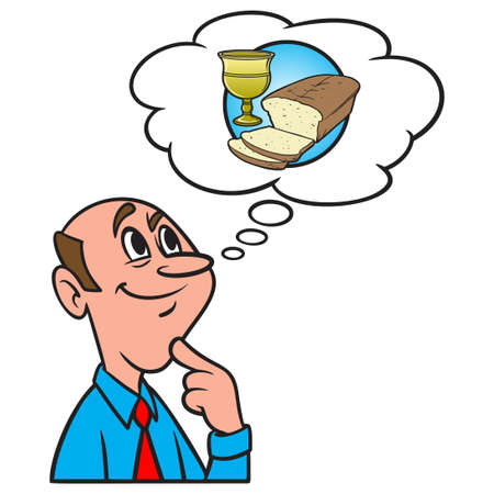 Thinking about Communion Service - A cartoon illustration of a man thinking about Communion  Service at Church.
