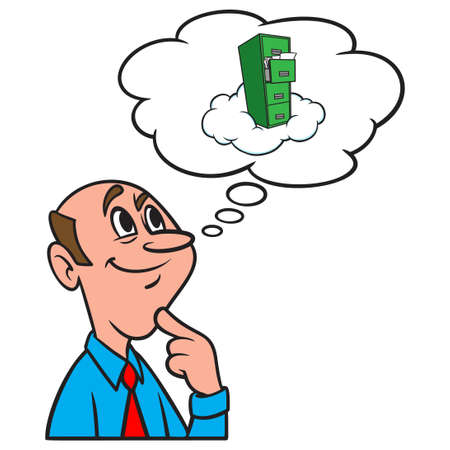 Thinking about Cloud Storage - A cartoon illustration of a man thinking about internet Cloud Storage.