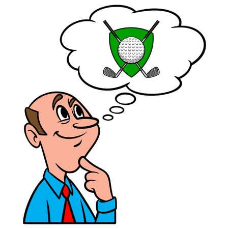 Thinking about a Golf Tournament - A cartoon illustration of a man thinking about a Golf Tournament. Иллюстрация