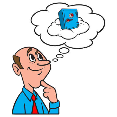 Thinking about Cloud Security - A cartoon illustration of a man thinking about internet Cloud Security.