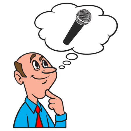 Thinking about a Microphone - A cartoon illustration of a man thinking about a new Karaoke Microphone.