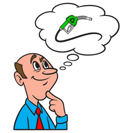 Thinking about Bio Fuel - A cartoon illustration of a man thinking about advantages of Bio Fuel.