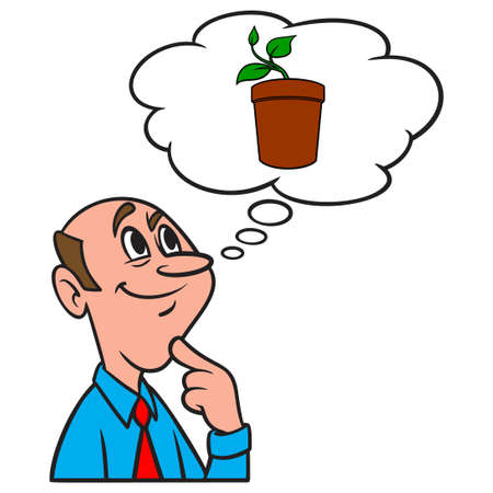 Thinking about a Potted Plant - A cartoon illustration of a man thinking about a potted plant. Иллюстрация