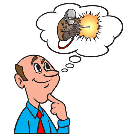 Thinking about Welding - A cartoon illustration of a man thinking about a career in Welding. Иллюстрация