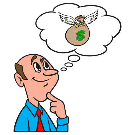 Thinking about a Flying Bag of Money - A cartoon illustration of a man thinking about a flying bag of Money.