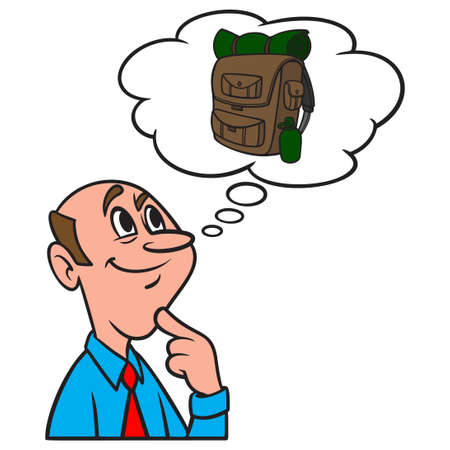 Thinking about a Hiking Backpack - A cartoon illustration of a man thinking about a Hiking Backpack. Иллюстрация