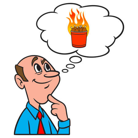 Thinking about a Bucket of Hot Wings - A cartoon illustration of a man thinking about eating a bucket of Hot Wings.
