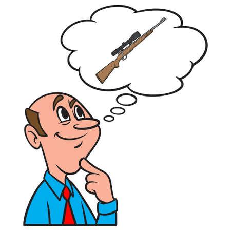 Thinking about a Hunting Rifle - A cartoon illustration of a man thinking about a new Hunting Rifle. Иллюстрация