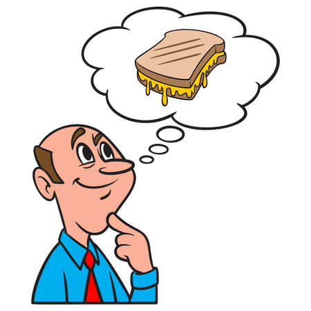 Thinking about a Grilled Cheese Sandwich - A cartoon illustration of a man thinking about eating a Grilled Cheese Sandwich.