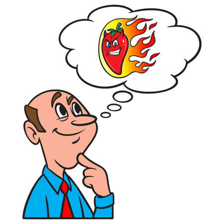 Thinking about a  Flaming Hot Pepper - A cartoon illustration of a man thinking about a flaming hot Pepper.