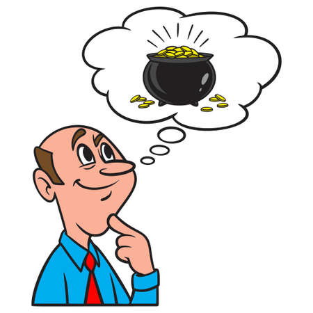 Thinking about a Pot of Gold - A cartoon illustration of a man thinking about a Post of Gold.