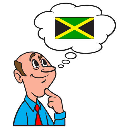 Thinking about Jamaica - A cartoon illustration of a man thinking about a vacation to Jamaica. Иллюстрация