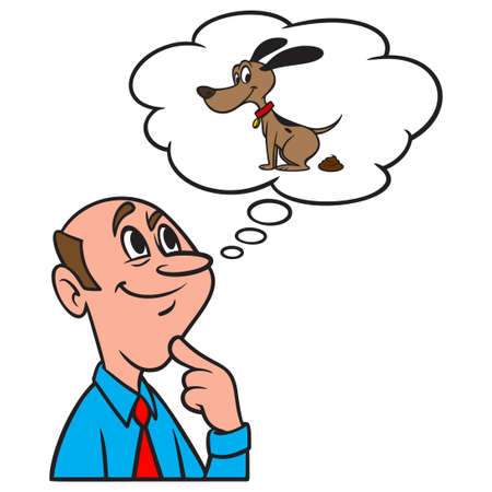 Thinking about Dog Poop - A cartoon illustration of a man thinking about Dog Poop.