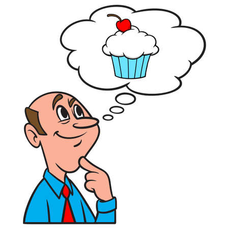 Thinking about a Cupcake - A cartoon illustration of a man thinking about eating a Cupcake. Иллюстрация