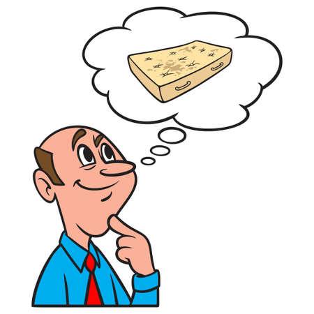 Thinking about a Dirty Mattress - A cartoon illustration of a man thinking about a Dirty Mattress. Иллюстрация