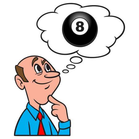 Thinking about an Eight Ball - A cartoon illustration of a man thinking about Eight Ball.