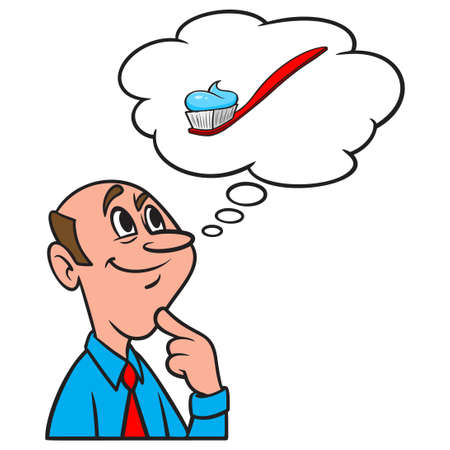 Thinking about a Toothbrush with Toothpaste - A cartoon illustration of a man thinking about a Toothbrush with Toothpaste. Illusztráció