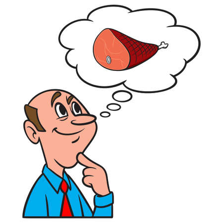 Thinking about Ham - A cartoon illustration of a man thinking about Ham.