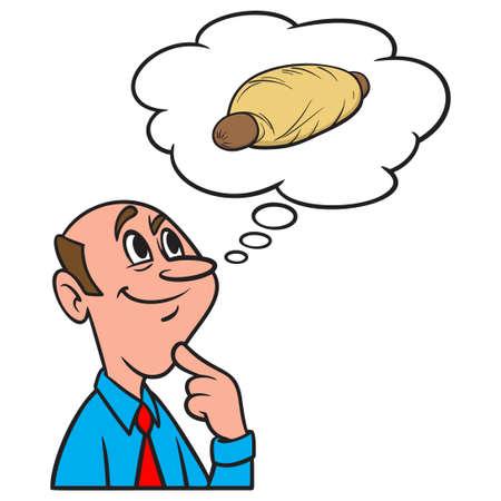Thinking about a Kolache - A cartoon illustration of a man thinking about having a Kolache for Lunch.