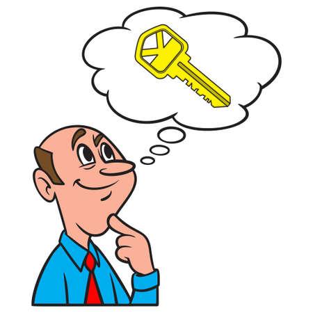 Thinking about a House Key - A cartoon illustration of a man thinking about a new House Key.