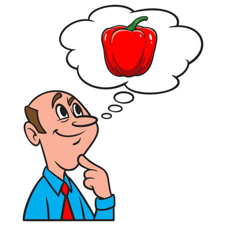 Thinking about a Red Pepper - A cartoon illustration of a man thinking about a fresh Red Pepper from the garden.