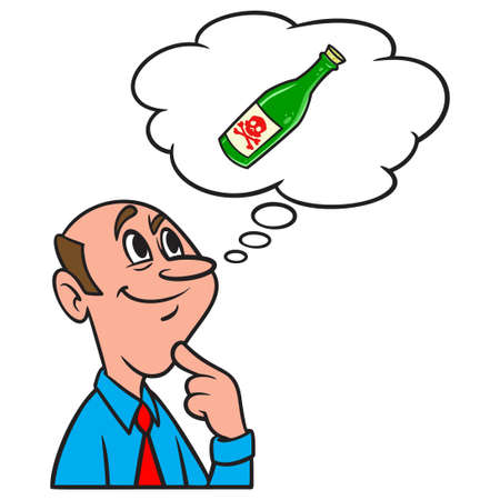 Thinking about a bottle of Poison - A cartoon illustration of a man thinking about using a bottle of Poison.