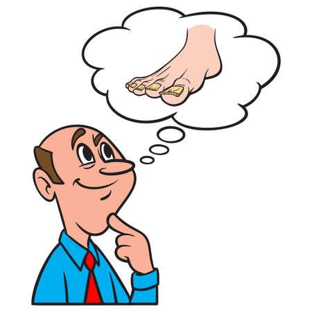Thinking about Toenail Fungus - A cartoon illustration of a man thinking about Toenail Fungus. Иллюстрация