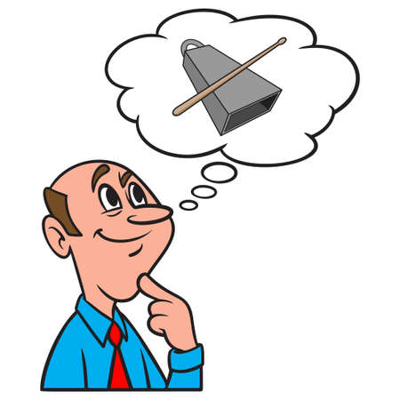 Thinking about a Cowbell and Drumstick - A cartoon illustration of a man thinking about a Cowbell and Drumstick.