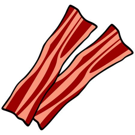 Bacon Strips - A cartoon illustration of a few slices of Bacon. Векторная Иллюстрация